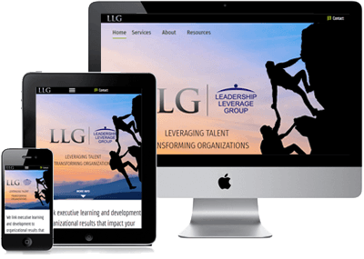 Leadership Leverage Group site on computer, phone and tablet
