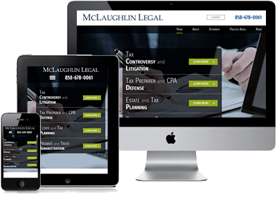 McLaughlin Legal site on computer, phone and tablet