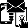 phone, texting, and email icons