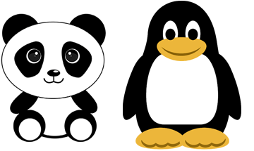 Graphics of a panda and a penguin