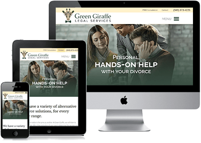 Green Giraffe Website on 3 devices