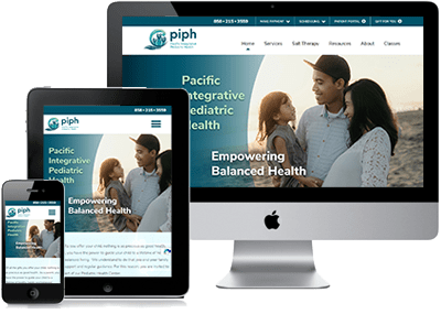 Pacific Integrative Pediatric Health Website on 3 devices