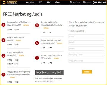 Free Marketing Audit Screenshot