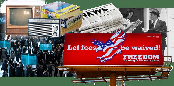 Montage of a trade show, billboard, radio, tv, door-to-door salesman, and newspaper