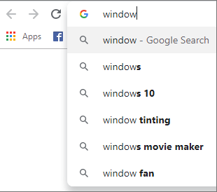 Google search suggestion drop-down for Window